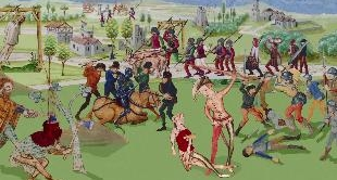 07 - THE MARTYRDOM OF SAINT APPOLONIA (1461) BY JEAN FOUQUET